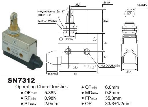 SUNS SN7312 Panel Mount Cross Roller Plunger Mini Enclosed Limit Switch AZ7312