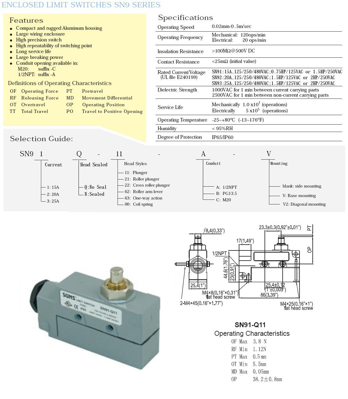 Air Curtain Limit Switch Wiring Electrical Diagrams Honeywell Wire Diagram Suns Sn91 Q11 A Top Plunger Bze6 2rq Ze Q 2