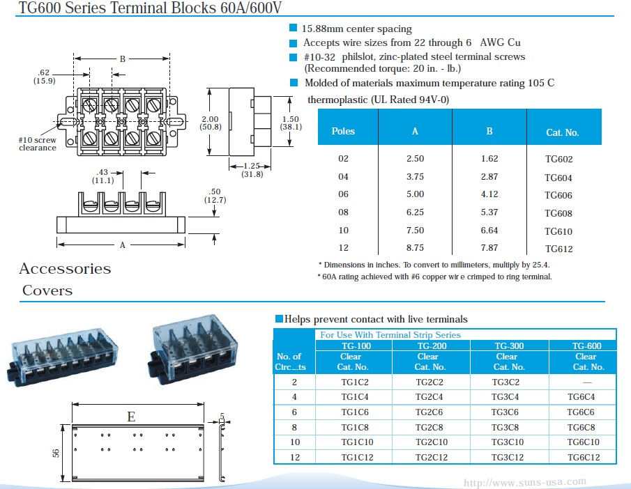 SUNS TG-612-C UL Rated 60A/600V Covered Terminal Block 12 Pole 22-6 ...