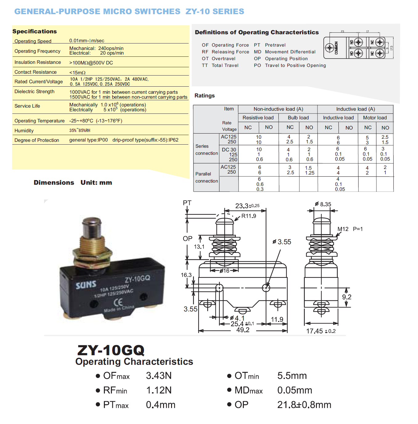Suns Zy 10gq 10a Micro Switch Z 10fqy B Industrial Direct Diagram